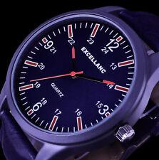 Excellanc  Herren Armband Uhr Blau Anthrazit rot