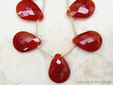 Chalcedony CARNELIAN Faceted 20mm-22mm long PEAR (2 Pear Drops -1 Pair) 24Ct