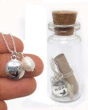 PEACH PETALS HOPE MESSAGE IN A BOTTLE NECKLACE FRESH WATER PEARL NECKLACE
