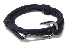 Nautical Fish Hook Bracelet Black Paracord Men Women Fashion Adjustable Jewelry