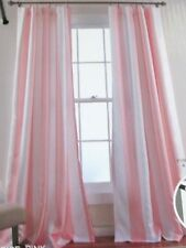 NIP PAIR Shabby PINK WHITE CABANA STRIPE Insulated Chic CURTAINS104Wx84
