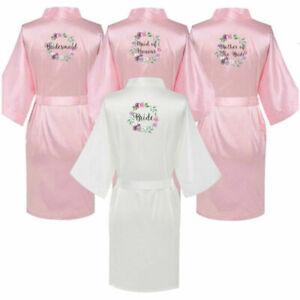 Personalized Bride Pink Wedding Bridesmaid Floral Satin Robe Mother Squad Gown