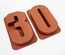 """Grandes de 12 """"de silicona número Moldes 30 Pastel Latas Tartera Cumpleaños 30 Molde"""