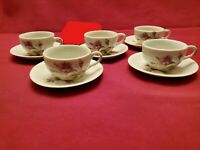 Moss Rose Japan Floral Demitasse/Childs Cup and Saucer-Set of 5