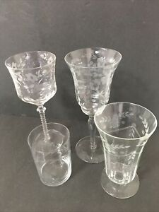 "Vintage Cordial and Wine Glasses Etched Floral Set of 4 Goblet Parfait 4"" 6"" 8"""