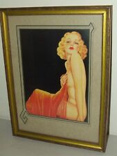 Rare Broadway Art 1940's Billy Devorss Framed Art Deco Risque Pin-Up Girl Litho