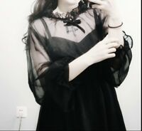 Japanese Harajuku Vintage Gothic Lolita Girls Women Slim Black Long Dress