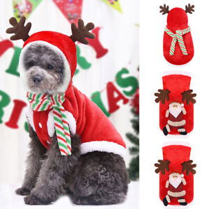 Pets Christmas Clothes Small Dogs Cats Santa Warm Costumes Wear Hat Puppy Outfit