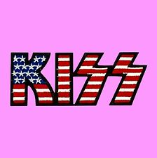 KISS Band Heavy Metal Hard Rock Music USA Flag Iron On Embroidered Patch