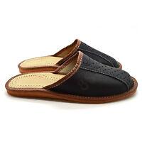Mens Leather Slippers Mules Black Size 6 7 8 9 10 11 12 Flip Flop Sandals UK
