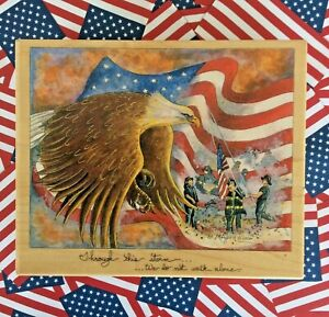 New York Firefighters 911 Patriotic Wood Mount Rubber Stamp American Flag Eagle