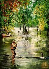 Fly Fishing Bayou Angler Fisherman Limited Edition ACEO Print Art Yary Dluhos .