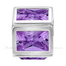 Lovelinks Bead Sterling Silver, 5 Amethyst CZ Squares Charm Jewelry TT538AM