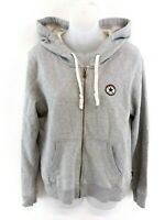 CONVERSE Womens Hoodie Jacket XL Grey Cotton & Polyester