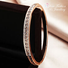 18K Rose Gold Plated Simulated Diamond Studded Stylish Hollow-out Band Bangle