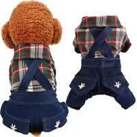 Pet Dog Clothes Plaid Puppy Cat Denim Overall Jumpsuit Pants Costumes Dogs Pant