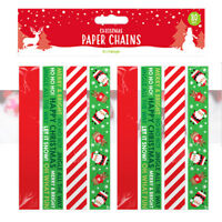 80 CHRISTMAS PAPER CHAINS Self Adhesive Printed Xmas Decorations Crafts Coloured