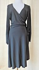 NOUGAT LONDON SZ 3 LARGE WRAP KNIT DRESS JERSEY BROWN LONG SLEEVE