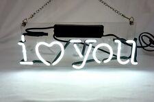 """I love You"" Handmade Real Glass Beer Bud Home Wall Neon Light Sign Lamp"