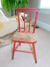 """Antique Vintage 1930s CHILDS DOLL CHAIR Red Wood Wooden 18"""" tall w Spindles"""