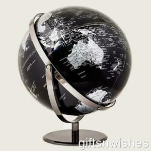 High Quality Double Axle Black World Globe Chrome Home Decor Wedding 20cm