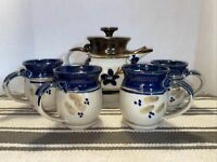 Vintage Handmade Pottery Coffee / Tea Pitcher & 4 Mugs Blue Brown Floral Glazed