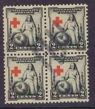 US:1931 2c Red Cross (702) Blk of 4 with extreme wandering cross. (04)