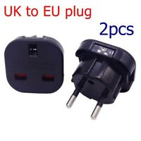 2X European Euro EU 2 Pin to UK 3 Pin Plug Adapter Power Socket Travel Converter
