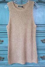 Lauren Ralph Lauren L NWT $120 Antique Gold Sleeveless Tunic Sweater Gorgeous!!