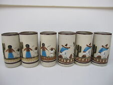 TONALA MEXICAN FOLK ART SET OF 6 MEXICAN POTTERY LARGE STONEWARE GLASS