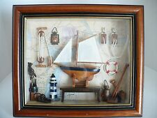 Arister Wood Hanging Box Glass w Wood Frame Nautical Sail Boat Theme Picture Art