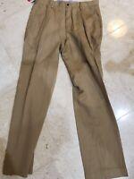 POLO RALPH LAUREN MEN'S FLAT FRONT CLASSIC FIT KHAKI LINEN PANTS 32X32 $125 NWT