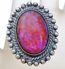 Sterling Silver Dragon's Breath Brooch Vintage 925 Glass Opal Pin Art Deco