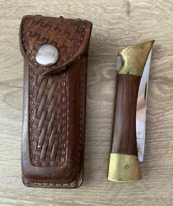 Vintage Browning Germany Model 3218-F Pocket Knife w/ Leather Case