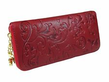 RED GENUINE LEATHER WALLET, Zipper, Multiple Compartments