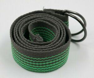 "Mens Gray Green Striped D-Ring Belt Size 33/44"" NWOT"