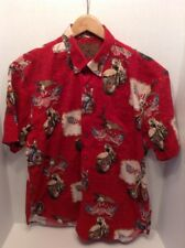 North River Mens Large L Red Short Hawaiian Shirt Motorcycles American Flags