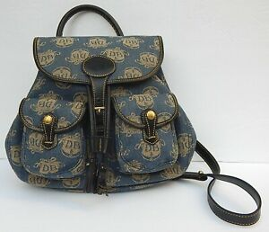 DOONEY & BOURKE DENIM LOGO PRINTED BACKPACK NEW AUTHENTIC MADE IN USA