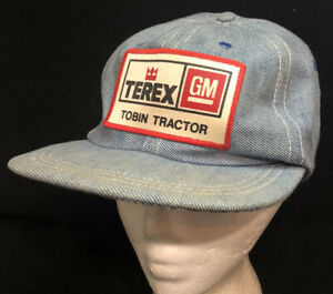 Vtg Terex GM Denim Hat Snapback Patch  Farm Construction Equipment Cap Farmer