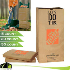 Heavy Duty Paper Lawn and Leaf Bags 30 Gallon Brown 5 / 20 / 50 Count Yard Waste