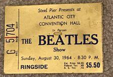 MEGA RARE Beatles Concert Ticket Stub | Atlantic City 1964 | Gold Ringside Seat