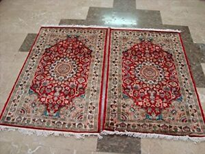 New Love Red Floral Hand Knotted Oriental Rug Wool Silk Carpet Pair (4 x 2.6)'