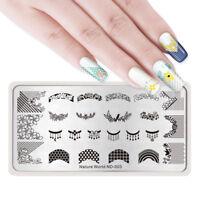 NICOLE DIARY Nagel Stempel Schablone Nail Art Stamping Plates Spitze Blume Blatt