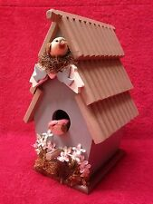 "Handmade Country Cottage Indoor Bird House Decor, 9.5"" Tall"