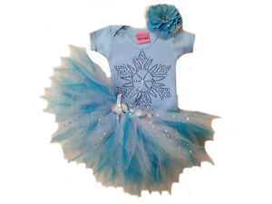 GIRL TODDLER FROZEN TUTU RHINESTONE SNOWFLAKE TOP BABY GROW ELSA FANCY DRESS SET