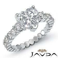 Heart Diamond Bezel Set Engagement Ring Gia Certified H Vs2 14k White Gold 1.7ct