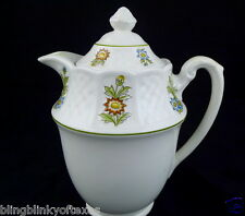 June Garden Teapot Royal Cauldon Bristol England Ironstone White 7'