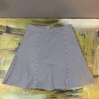"""Ann Taylor LOFT Women's Size 0 Navy Blue White Striped Cotton Mini Skirt 18"""""""