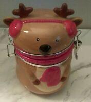 Reindeer Christmas Cookie Jar With Latch Lid Ceramic Preowned