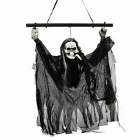 Black Hanging Ghoul That Face Lights Up Halloween Spooky Decoration 11 3/4 inchs